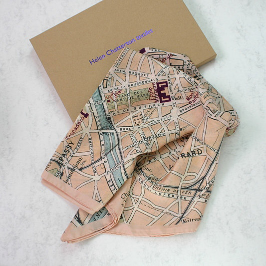 Paris Vintage Map Silk Scarf, Luxury Silk Scarf, Ladies Silk Scarf, Ladies Birthday Gift Idea