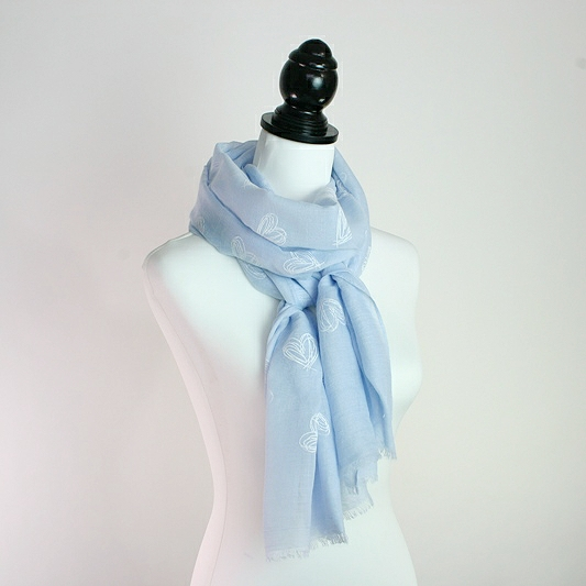 EMBOSSED HEARTS SCARF