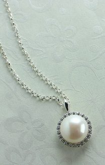 PEARL AND CZ HALO PENDANT