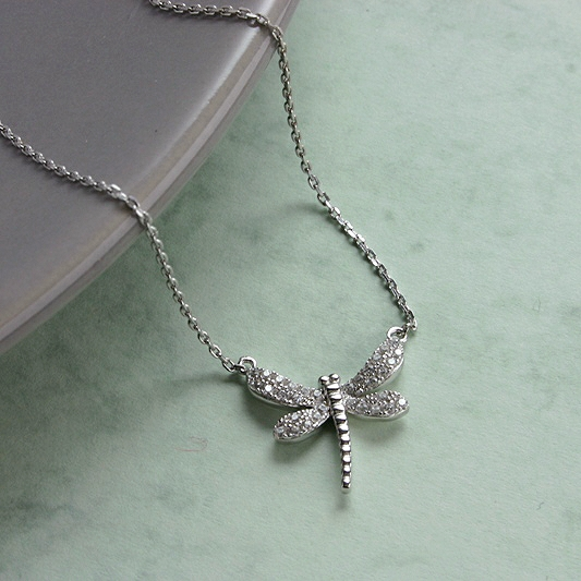 SMALL SILVER DRAGONFLY NECKLACE