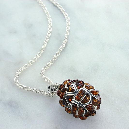 Amber & Silver Egg Pendant