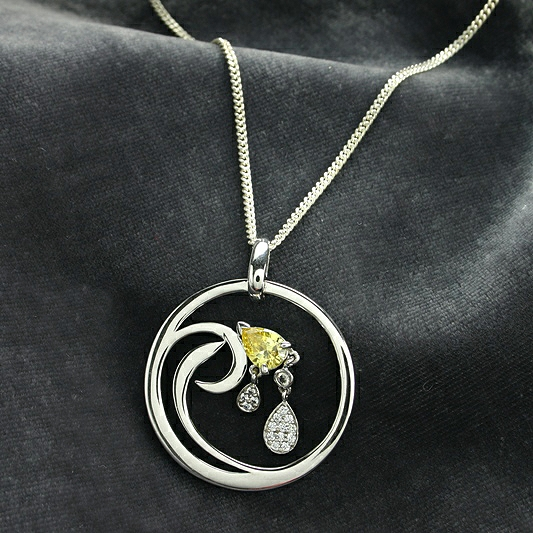 Citrine, Cubic Zirconia And Silver Pendant