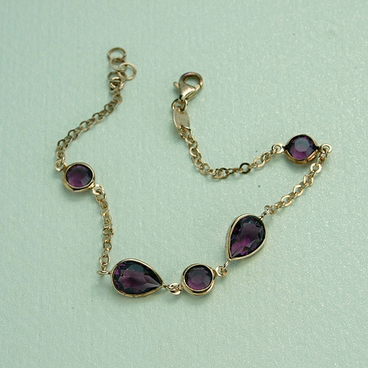 Gold Plated Crystal Bracelet, Purple Crystal Stones