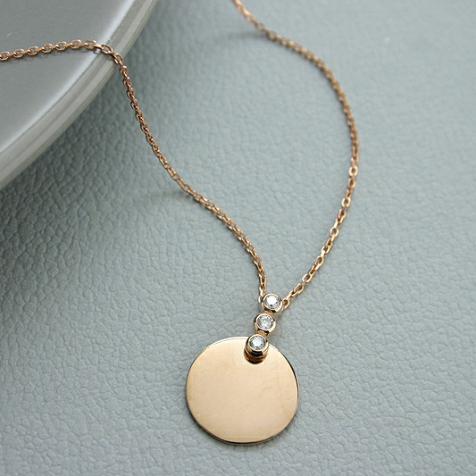 Rose Gold Plated Disc Pendant