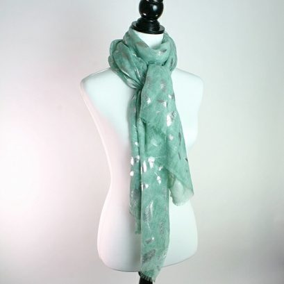 MINT GREEN SILVER FEATHER SCARF
