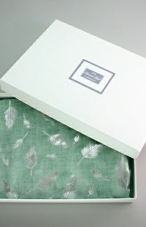 Mint Green Silver Feather Scarf Gift Box