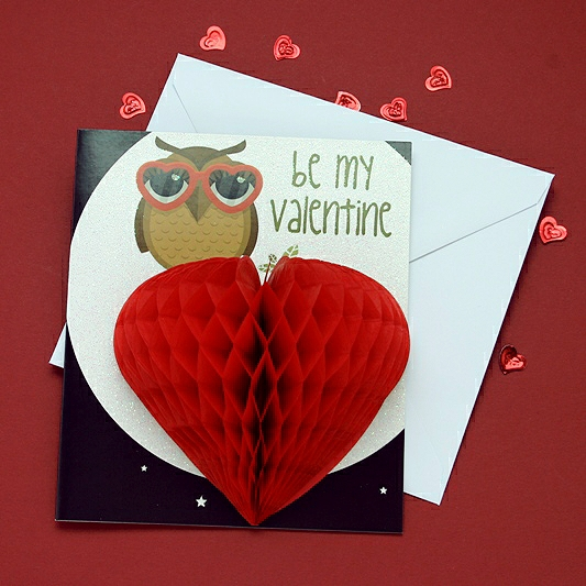 Owl With Love Goggles Valentine Card