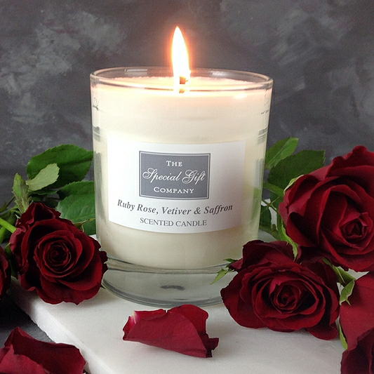 Ruby Rose, Vetiver & Saffron Candle, Special Gift For Her