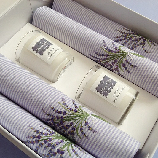 Embroidered Napkin & Candle Gift Set