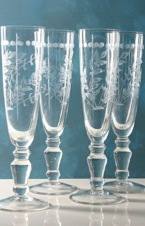 ETCHED CHAMPAGNE GLASSES SET