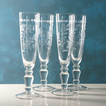 ETCHED CHAMPAGNE GLASSES SET