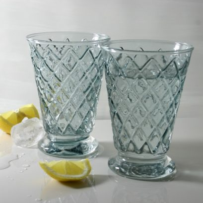 HARLEQUIN GLASS TUMBLERS BLUE GREY