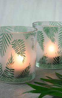 FERN GLASS TEALIGHT HOLDERS