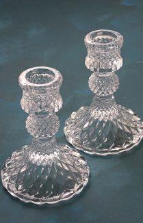 GLASS CANDLESTICKS PAIR