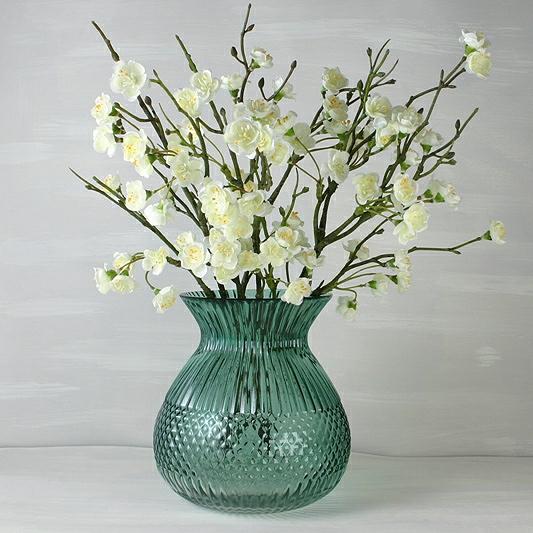 Green Glass Vase, Flower Vase, Hortensia Green Glass Vase