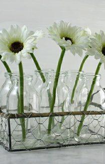 MILK BOTTLES FLOWER BASKET
