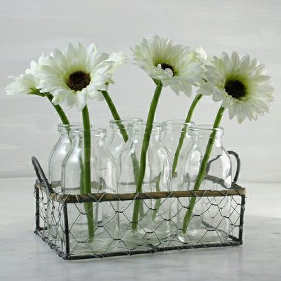 MILK BOTTLES FLOWER BASKET