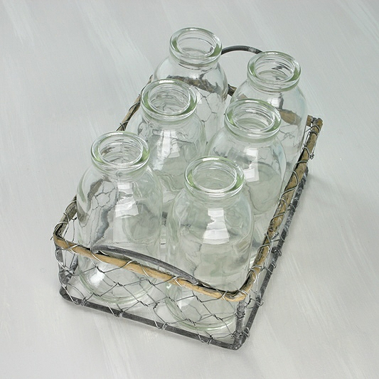 Wire Basket Milk Bottles 3