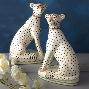 Pair of Cheetah china figures