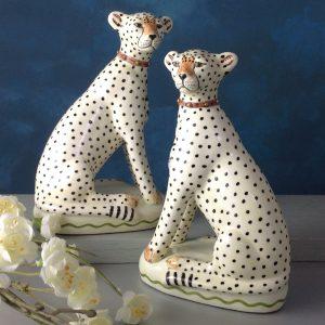 Pair of Cheetah china figures