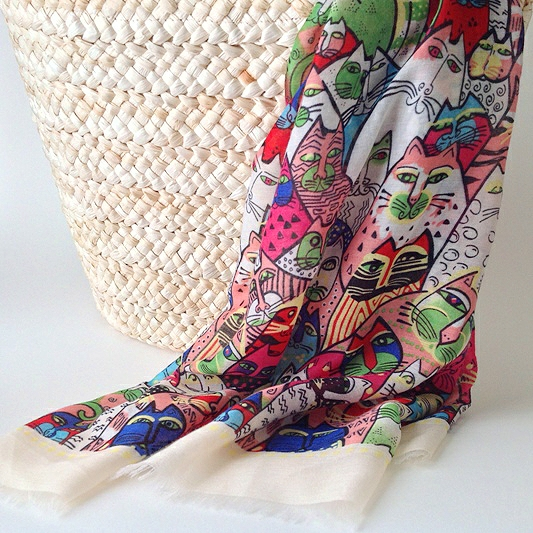 cat art scarf, cat lovers scarf