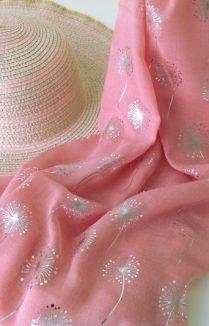 Dandelion Dusty Pink Scarf, Holiday Accesory, Summer Scarf