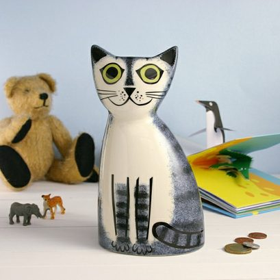 GREY TABBY CAT MONEY BOX