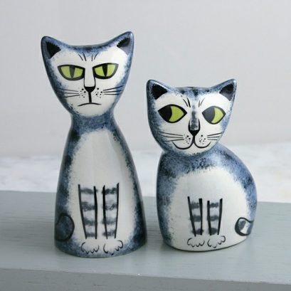GREY TABBY CAT SALT & PEPPER SHAKERS