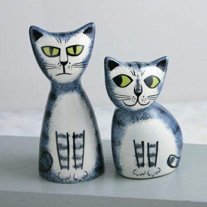 GREY TABBY CAT SALT & PEPPER SHAKERS