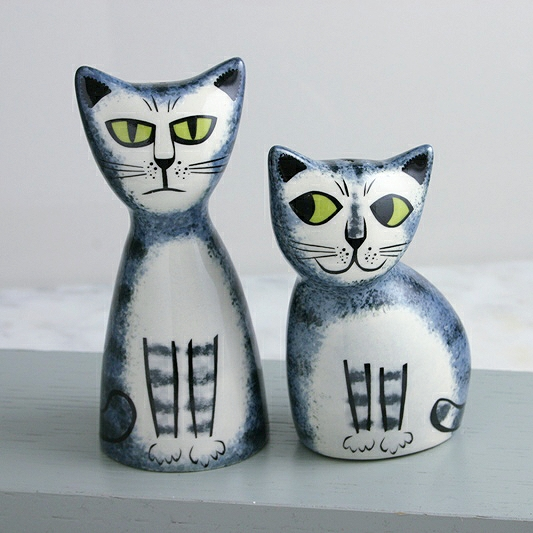 Grey Tabby Cat Salt & Pepper Shakers, Cat Salt Pepper, Cat Tableware