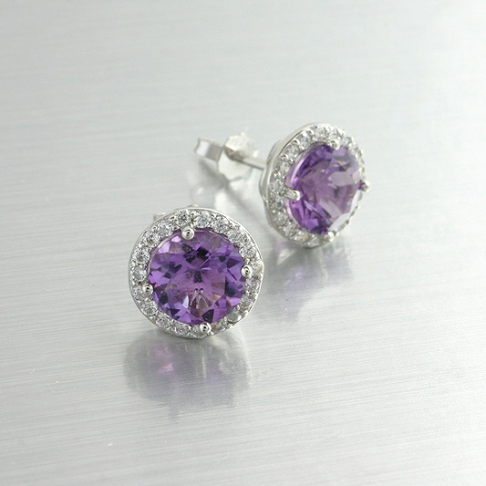 Amethyst Cubic Zirconia Halo Earrings