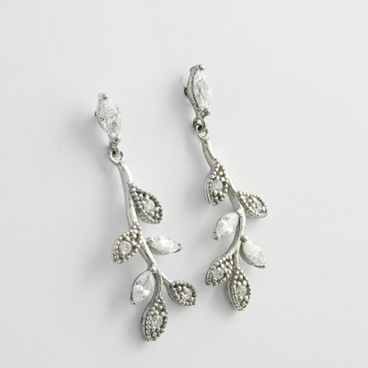 CUBIC ZIRCONIA LEAVES ON BRANCH EARRINGS