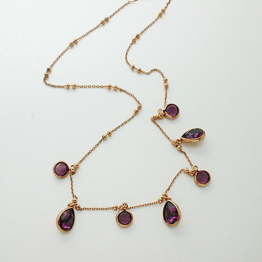 Gold Plated Crystal Necklace, Purple Stones