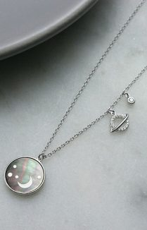 MOON & PLANETS DISC NECKLACE