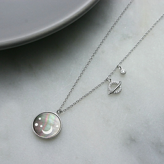 Moon & Planets Disc Necklace, Moon Necklace