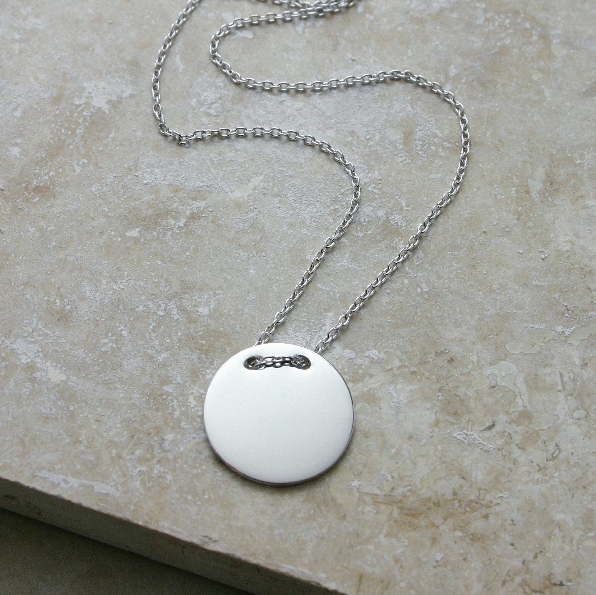 Silver Button Disc Necklace