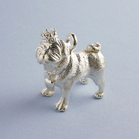 Sterling Silver Pug Figure