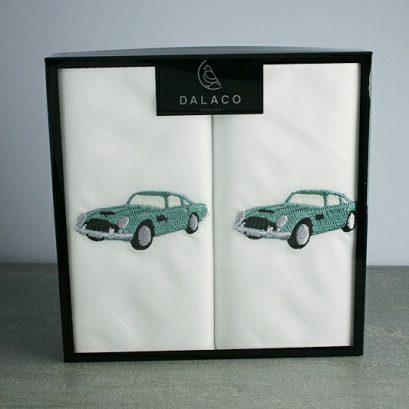 Handkerchief Set Vintage Car Motif