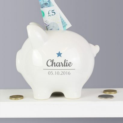 PERSONALISED BLUE STAR PIGGY BANK
