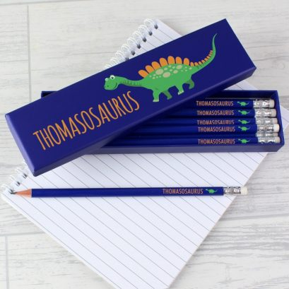Personalised Dinosaur Pencils & Box