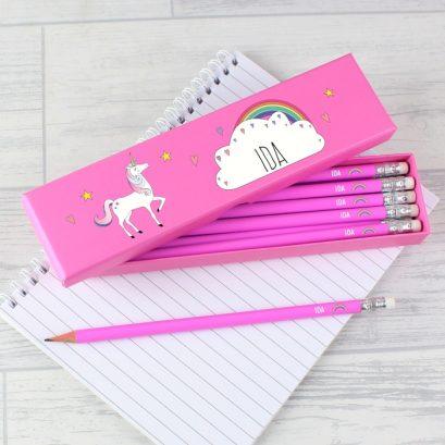 Personalised Unicorn Pencil Box With 12 Pencils