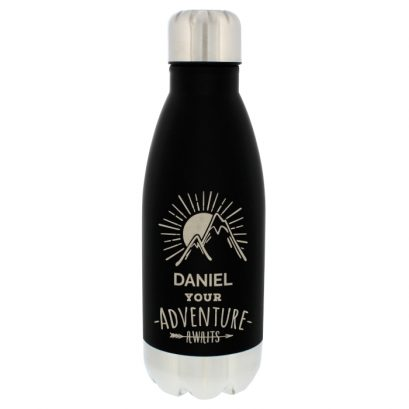 Personlaised Adventure Awaits Black Travel Bottle