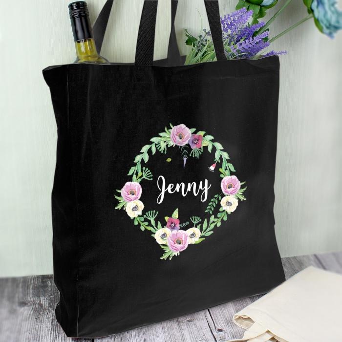 Personalised Black Floral Bag