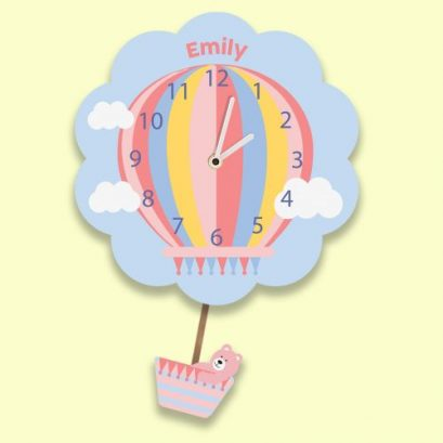 HOT AIR BALLOON PERSONALISED WALL CLOCK