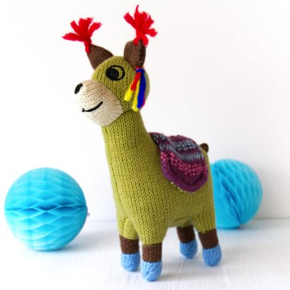 MINI KNITTED LLAMA RATTLE TOY