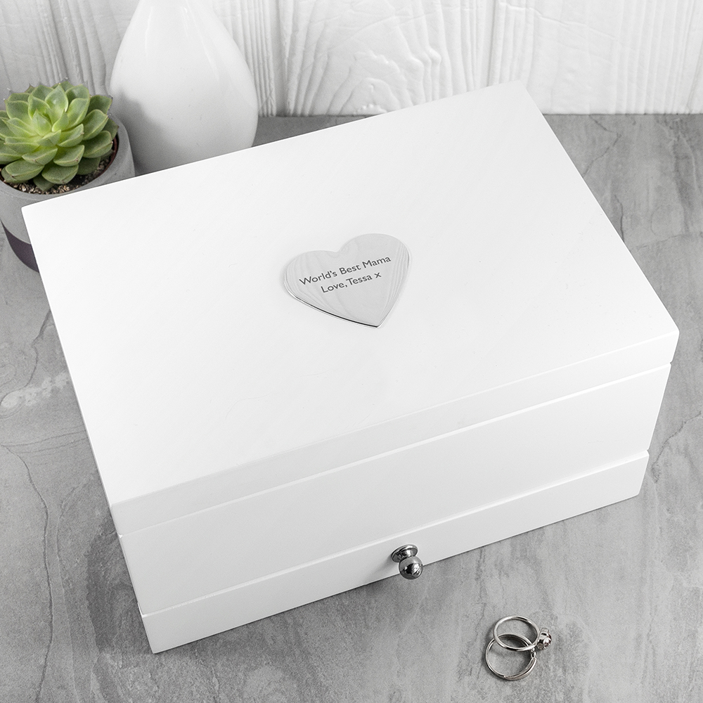 Personalised White Jewellery Box, Mothers Day Gift