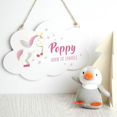 BORN TO SPARKLE PERSONALISED UNICORN CLOUD WALL HANGING
