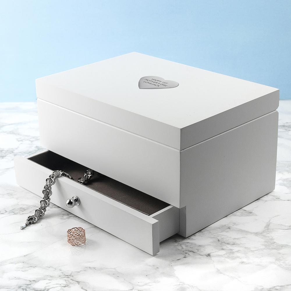 Personalised White Jewellery Box
