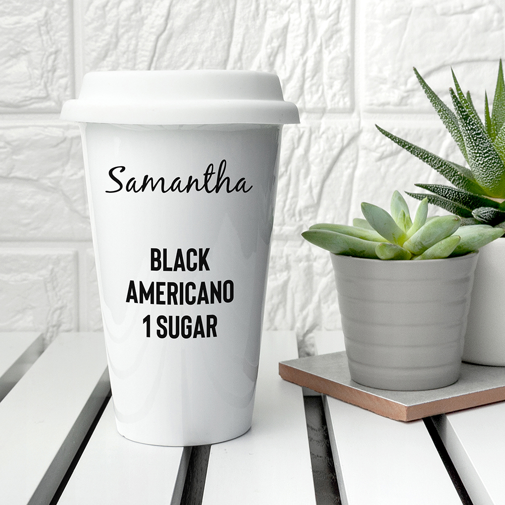 Personalised Ceramic Travel Mug, Environmetally Friendly Mug, Re-usable Mug, Great Gift For Coffee Lovers