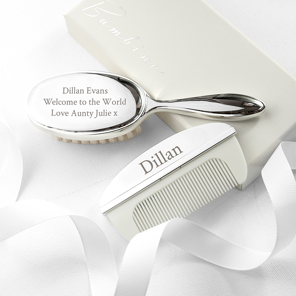 Personalised Silver Plated Baby Brush And Comb Set, Christening Gift, New Baby Gift, Special Baby Gift
